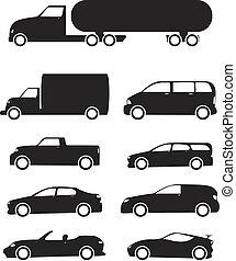 vehículos, conjunto, icono
