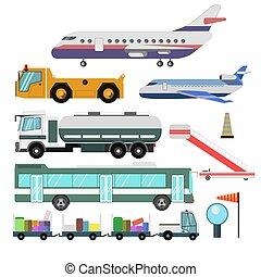 Vehículos de servicio del aeropuerto y vectores de aviones aislados iconos