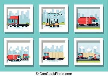 vehículos, lío, transporte, entrega