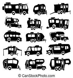 vehículos, recreativo, iconos