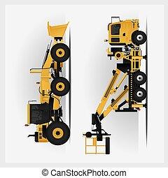 vehículos, vector, construcción, ilustración