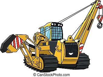 vehicle., tubo, colocar, coche, construcción, eyes., divertido