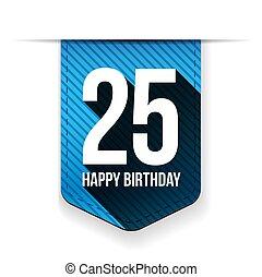 veinte, años, cumpleaños, cinco, cinta, feliz