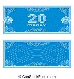 veinte, juego, dinero.