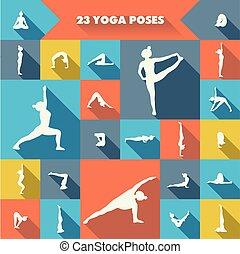 veinte, poses., yoga, tres