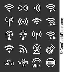 veinte, wifi, conjunto, iconos