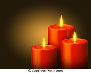 velas, 3, rojo