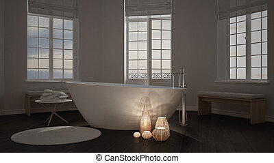 Velas iluminadas dentro de un baño minimalista, diseño de interiores spa zen