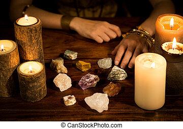velas, manos, piedras, curación, cajero, entrenamiento, vida, concepto, fortuna