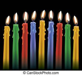 velas, nueve, colorido