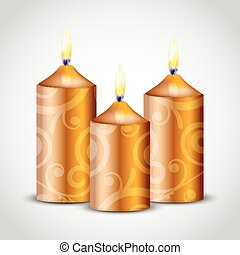 velas, vector, ilustración, oro, florido
