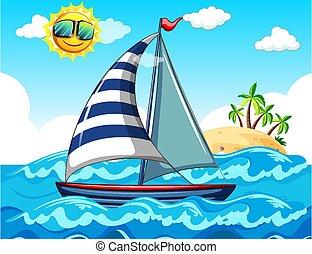 velero, mar, escena