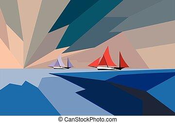 velero, rojo, sunset., azul