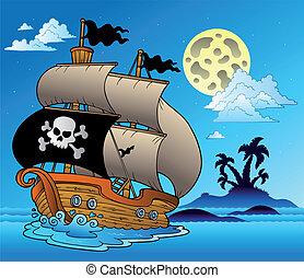 velero, silueta, pirata, isla