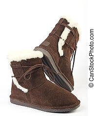 velloso, lanoso, botas, tibio, plano de fondo, blanco, encima