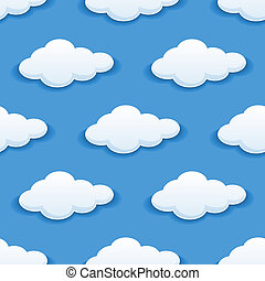 velloso, nubes, seamless, plano de fondo