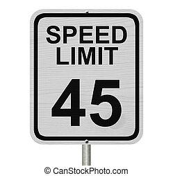 velocidad, 45, límite, señal
