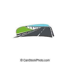 velocidad, vector, camino de asfalto, vuelta, icono, carretera