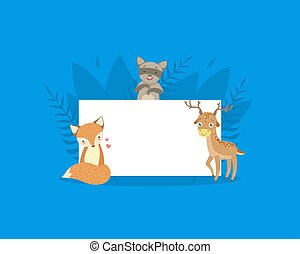 venado, blanco, lindo, bandera, tenencia, mapache, zorro, vacío, tabla, señal, animales, ilustración, vector, bosque