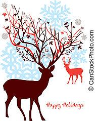 Venado navideño con árbol, vector
