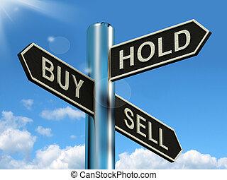 venda, comprar, poste indicador, acciones, estrategia, asimiento, representar