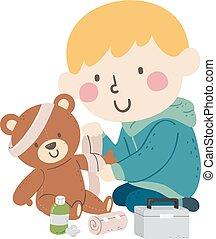 venda, niño, niño, juguete, ilustración, oso