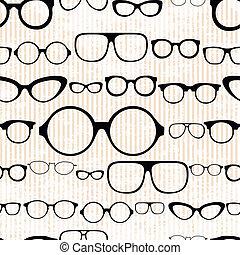 vendimia, anteojos, style., seamless, patrón