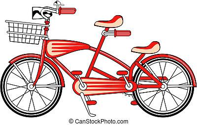 vendimia, bicicleta, bicicleta, construido, dos