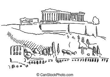 vendimia, bosquejo, acrópolis, atenas, grecia