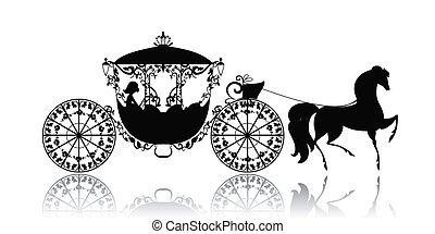 vendimia, caballo, silueta, carruaje