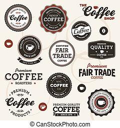 vendimia, café, etiquetas