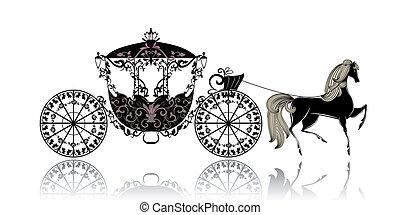 vendimia, carruaje, caballo