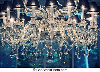 vendimia, chandelier., cristal