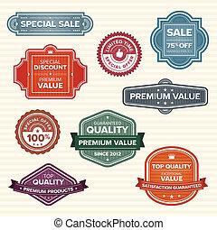 vendimia, colores, etiquetas, vario, retro