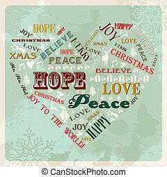 vendimia, concepto, navidad, alegre, corazón