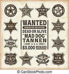 vendimia, conjunto, alguacil, insignias
