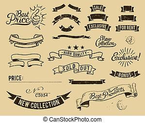 vendimia, conjunto, venta, iconos