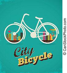 vendimia, estilo, bicicleta, ciudad, cartel