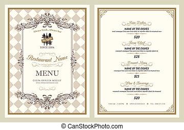 vendimia, estilo, restaurante, diseño, menú