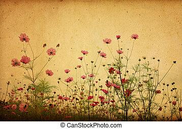 vendimia, flor de papel, plano de fondo