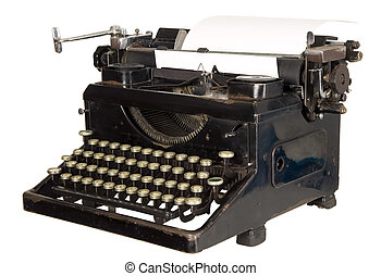 vendimia, fondo blanco, máquina de escribir