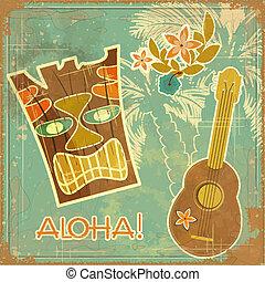 vendimia, hawaiano, tarjeta