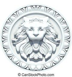 vendimia, león, vector, cabeza, sculpture.