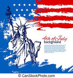 vendimia, mano, norteamericano, 4, diseño, plano de fondo, flag., dibujado, julio, día, independencia