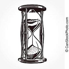 vendimia, mano, vector, dibujado, antigüedad, reloj de arena