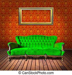 vendimia, marco, sillón, habitación, lujo