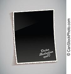 vendimia, marco, tabla, vacío, foto