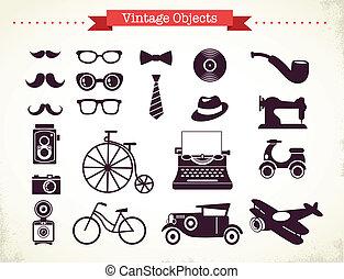 vendimia, objetos, hipster, colección