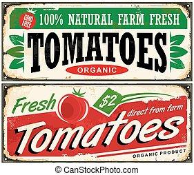 vendimia, promocional, tomates, señal