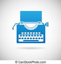 vendimia, símbolo, creatividad, ilustración, vector, diseño, retro, plantilla, icono, máquina de escribir